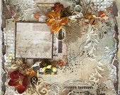 Premade Scrapbook Page, Vintage, Shabby Chic, One of a Kind, Altered