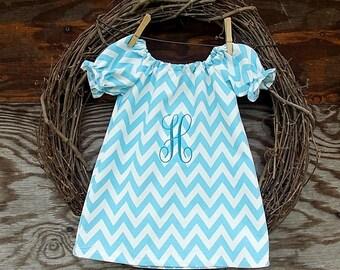Girls Blue Dress, Girls Easter Dress, Monogrammed Dress, Girls Peasant Dress, Girls Dress
