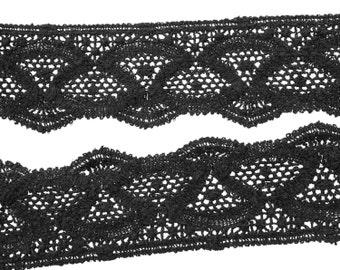 "4 1/2 Yards of Vintage 3 1/2"" Black Crocheted Knit Trim. Scalloped Edge. Wide Edging Trim. Border Trim. Sewing, Applique. Item 3940T"