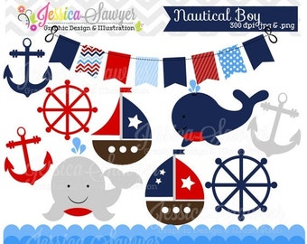 80% OFF - INSTANT DOWNLOAD, baby boy sailing clip art for personal and commercial use