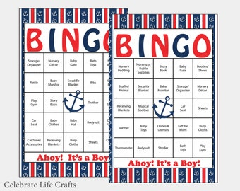 60 Anchor Baby Shower Bingo Cards   60 Prefilled Bingo Cards   Boy Nautical Baby  Shower