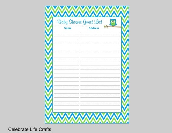 Baby shower guest list printable sign in sheet with address baby shower guest list printable sign in sheet with address for thank you notes baby boy owl baby shower theme blue lime chevron b2002 negle Image collections