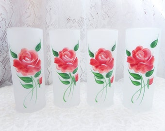 Vintage Frosted Highball Glasses 4 Painted Pink Roses