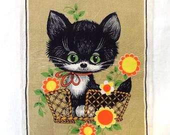 Vintage Dunmoy Towel Pure Irish Linen Mod Black Kitty Cat