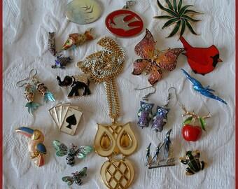 Vintage Enamel Jewelry Lot Of 20 Animals Birds Fish...