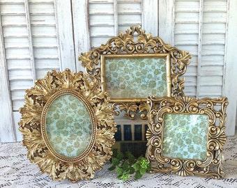 Ornate Metallic Gold Picture Frames - 4x6 - Set of 3 Ornate Table Top Desk Top Mantel Frames - Hollywood Regency