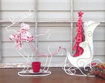Old World High-Back Sleigh & Reindeer w/Lighted Christmas Tree / Red-White Christmas Holiday Mantel Decor