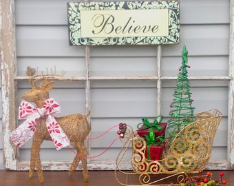 Gold Wire Mesh Reindeer & Sleigh w/Light Up Presents / Christmas Holiday Mantel Decor