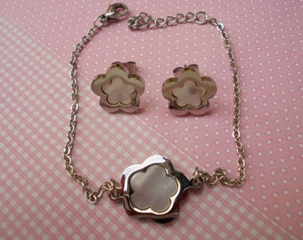 earrings and bracelet set, steel and mother of pearl, flower