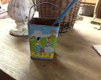 Vintage Sand Bucket with Shovel