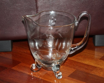 Beautiful Vintage Etched Glass Pitcher from Poland/Footed Clear Glass Pitcher/Etched Floral Glassware/Large Footed Glass Pitcher
