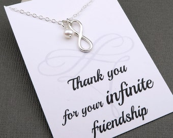 Silver Infinity Necklace - Best Friend Necklace - message card - sterling silver - best friend gift