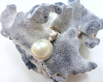 Pearl Pendant Ivory Mabe Pearl Sterling Silver Necklace Pendant