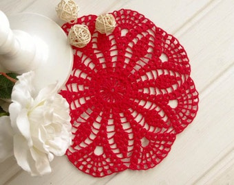 SALE 10% OFF: Crochet doily Red crochet doilies Cotton lace doilies Crocheted centerpiece 300
