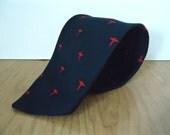 Vintage Caduceus Club Tie / Clubs by Blanford symbol of medicine pattern necktie / men's navy blue & red medical tie