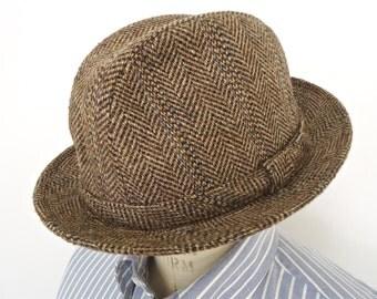 Vintage Stetson Tweed Trilby Hat / brown herringbone wool fedora / men's large