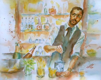 """ORIGINAL watercolor painting, NOT a print, """"Ask the Bartender"""""""