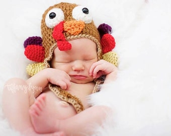 PATTERN Instant Download Turkey Hat Newborn baby Crochet Beanie Thanksgiving Photo Prop