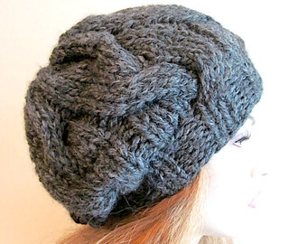 PDF Instant Download Knitting Pattern Cabled Chunky Slouchy Beanies Berets Tam Cable Super Bulky Hipster Hats Womens