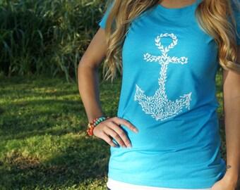 "Hand drawn ""Anchor-Hebrews 6:19"" fitted tri-blend t-shirt- Aqua with white"