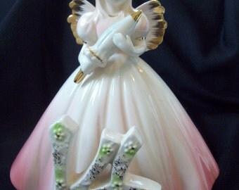 "Vintage Angel Figurine Cake Topper Josef Original Angel 14th Birthday Angel Figurine Pink Dress Blonde 5-3/4"" Tall"