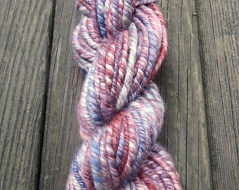SALE- Handspun Yarn, Art Yarn, Bulky, Thick and Thin, Pastel, 3 Ply, Wool, Ripe Berries