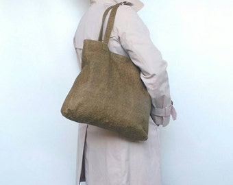 Camel Leather Tote Bag, Original Leather Bags, Stylish Purse, Unique Handbag, Handmade Totes Yosy