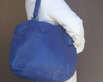 Tote Purse, Blue Leather Shoulder Handbag, Oversize Carryall Bag, Handmade Bags and Purses, lily