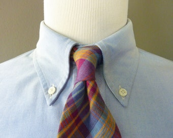 Vintage POLO by Ralph Lauren 100% Cotton Indian Madras Plaid Tartan Trad / Ivy League Summer Neck Tie.  Handmade in USA.
