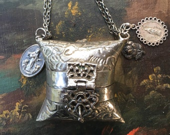 Amazing Little Silver Purse with Vintage Religious Medals Necklace