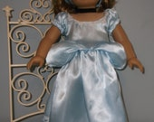 18 Inch American Girl Doll or Maplelea Girl Clothes - Cinderella princess dress in light blue satin by Project Funway on Etsy