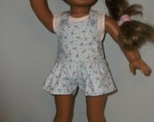American Girl 18 inch doll short overalls or romper plus sleeveless tee shirt by Project Funway on Etsy
