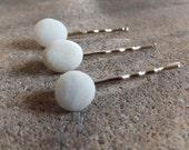 White Beach Pebble Hair Pins - Set of 3
