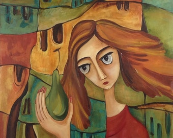 Eva with a pear . Original one-of-a-kind oil painting with a girl and a pear. .Ready to ship.