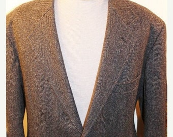 50% Off Valentines Sale Vintage Pendleton Black and Grey Wool Tweed Men's Jacket Blazer Coat sz 46