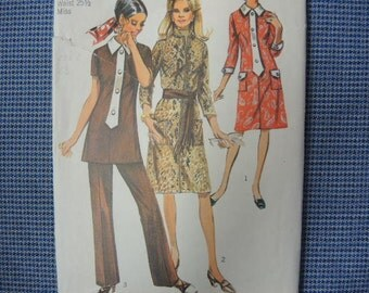 vintage 1970s Simplicity sewing pattern 9170 misses dress or tunic and pants size 12
