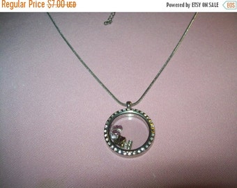 SALE 60% Off Vintage silvertone charm locket style pendant necklace I love Dance as is