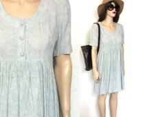 Vintage 90's Baby Doll Dress Grey Boho Mini Dress Slouchy Oversized 90's Grunge Dress Gray 80's Dress 80s 90s Clothing Babydoll Medium