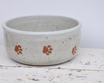 Medium dog bowl with paw prints, ceramic dog bowl, pottery dog bowl. Dog bowl, Pet Bowl, ceramic dog bowls