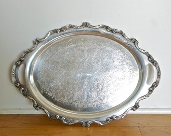 Large silver plate tray by Wallace…waiter tray…La Reine by Wallace…unique handles.