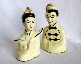 Vintage Chinese porcelain man and woman...Asian head figurines.