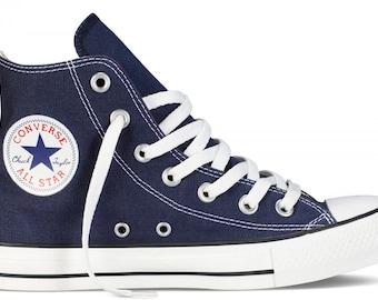 Navy Blue Converse Mens Ladies High Top GlassSlippers w/ Swarovski Crystal Rhinestone Bling Wedding Groom Chuck Taylor All Star Sneaker Shoe