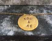 """18"""" gold plated """"you & me"""" charm necklace"""