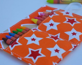 Stars crayon roll, up to 12 crayons, 6''x4.5''. Orange, red, brown, white. Kids gift, boys gift.  Add crayons option.