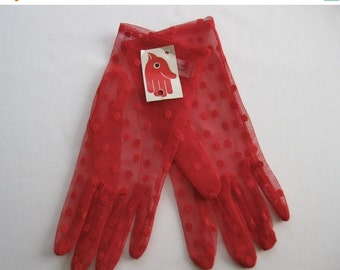 ON SALE vintage. GLOVES. netting. Polka Dots. red. 1980s. large.