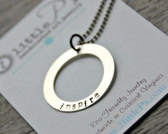 Sterling Silver Sentiments Collection Jewelry Handstamped Breathe Dream Create Inspire Believe