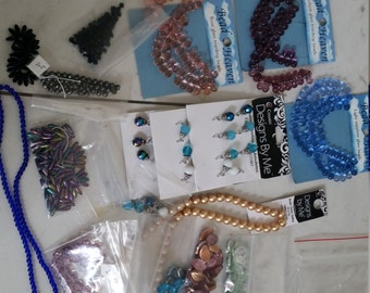 Clearance! Lot of beads for making jewelry or crafting | leaf beads | iridescent beads