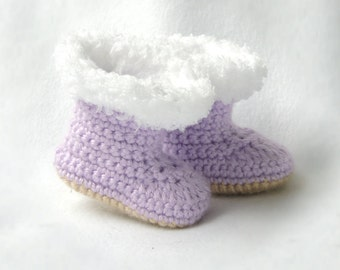 Purple Baby Shoes, Baby Boots, Lavender Booties, Crib Shoes, Ugg Inspired Booties, Crocheted Shoes, Baby Gift, Furry Baby Boots, Lavender