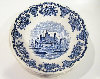 Set of 6 Enoch Wedgwood Royal Homes Of Britain Blue and White Cereal Or Soup Bowls Genuine Hand Engraving