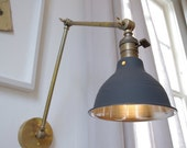 Industrial Articulating Brass Wall Lamp with shop shade - Mid century style - Raw Brass Task Boom Lamp - School House Shade
